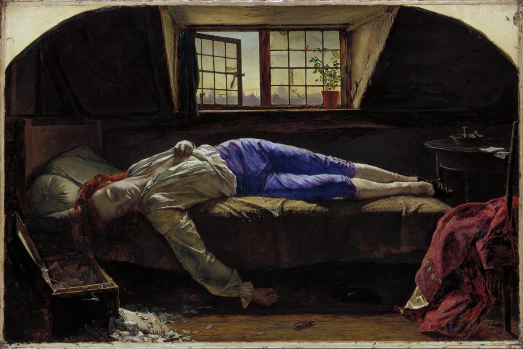 চ্যাটারটনের মৃত্যু নিয়ে হেনরি ওয়ালিসের আঁকা ছবি।